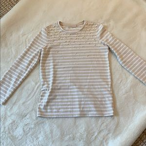 Tory Burch striped top with pearl embellishments